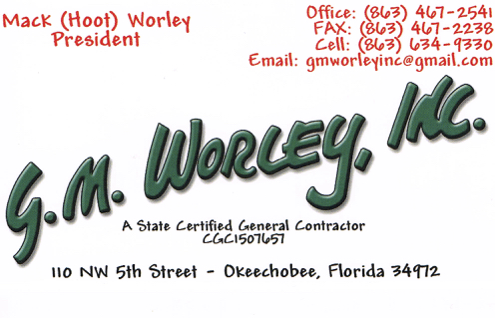 G. M. Worley Inc. business card